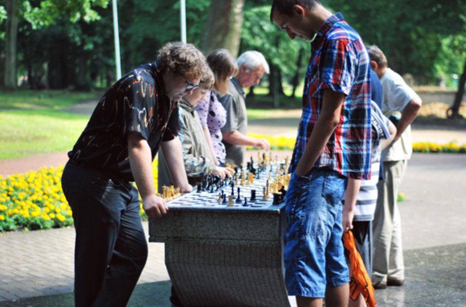Ketvirtadienį Skulptūrų parke rinkosi šachmatų mėgėjai.