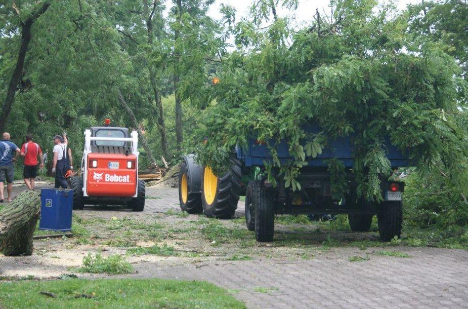 Išversti medžiai operatyviai šalinti ugniagesių.