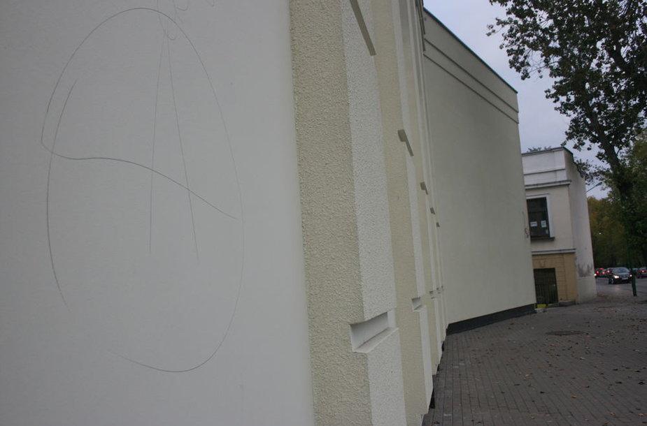Vandalai Klaipėdoje jau spėjo aprašinėti restauruojama Klaipėdos dramos teatro pastatą.