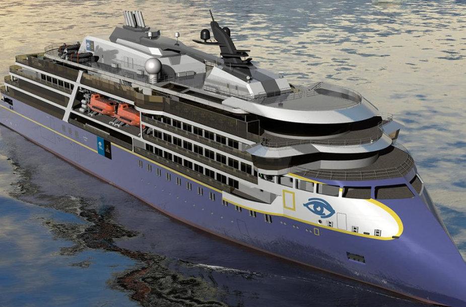 Klaipėdoje statomas ekspedicinio-kruizinio laivo antstatas.