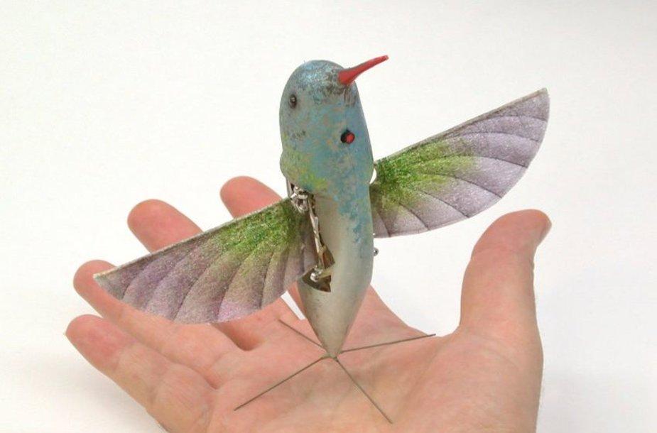 Paukštelis-robotas ne daug skiriasi nuo tikro kolibrio.
