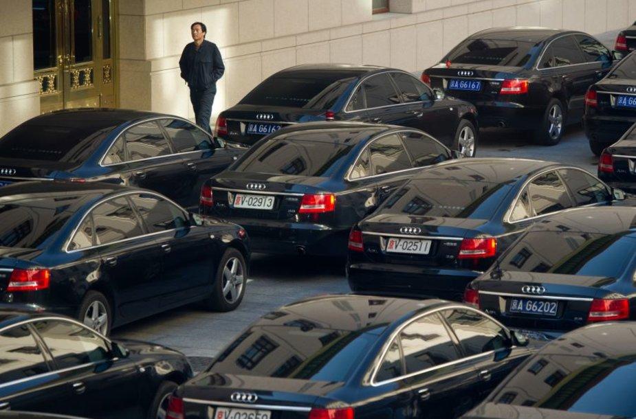 Prie kongreso rūmų išrikiuoti naujutėlaičiai automobiliai.