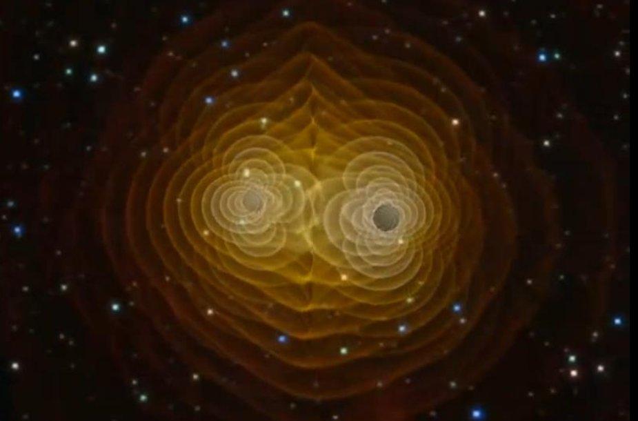 Dviejų supermasyvių juodųjų skylių susidūrimo modelis.