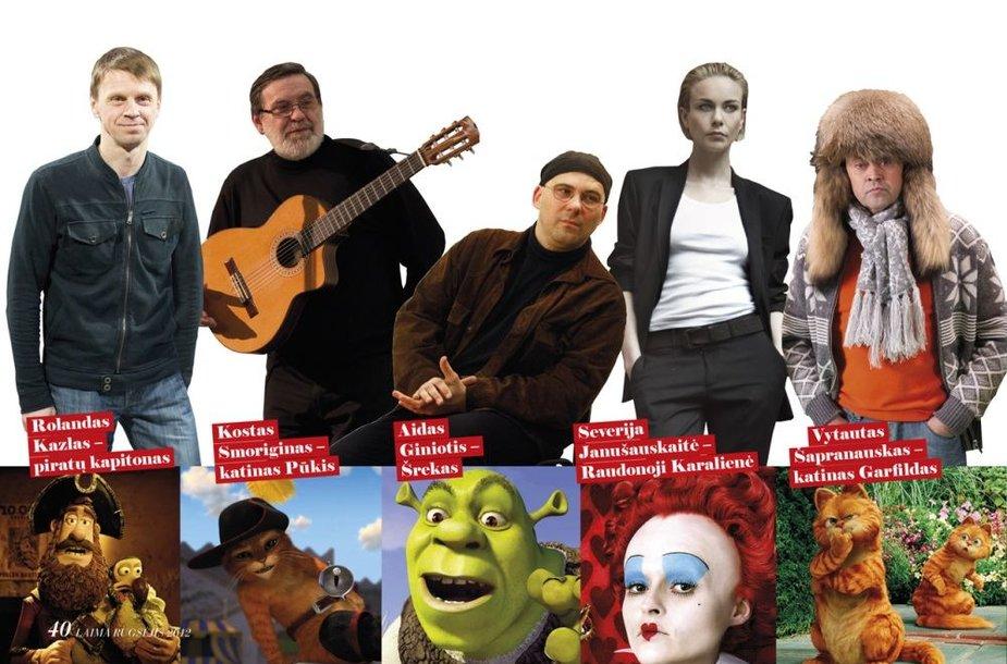 Aktoriai lietuviškai įgarsinę įvairius personažus animaciniuose filmuose
