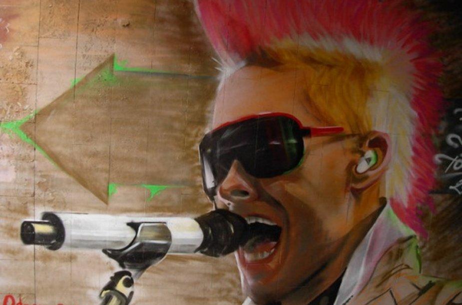 """Grafiti Vilniuje, kuriame pavaizduotas """"30 Seconds to Mars"""" vokalistas"""