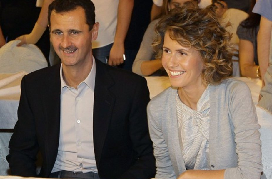 Sirijos diktatorius Basharas al Assadas su žmona Asma