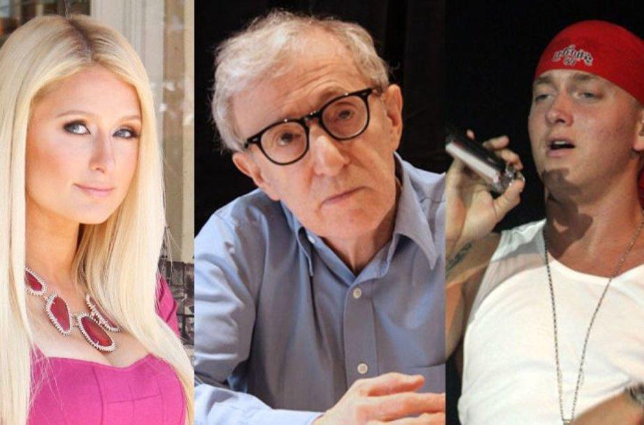 Paris Hilton, Woody Allenas, Eminemas