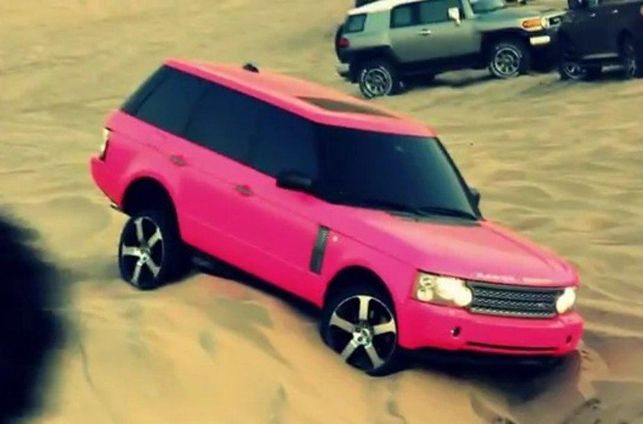 """Rožinis """"Range Rover"""" neįveikė kopos"""