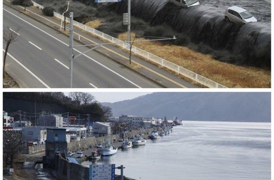 Mijako miestas 2011 m. kovo 11 dieną (viršuje) ir 2012 m. vasario 17 dieną (apačioje)