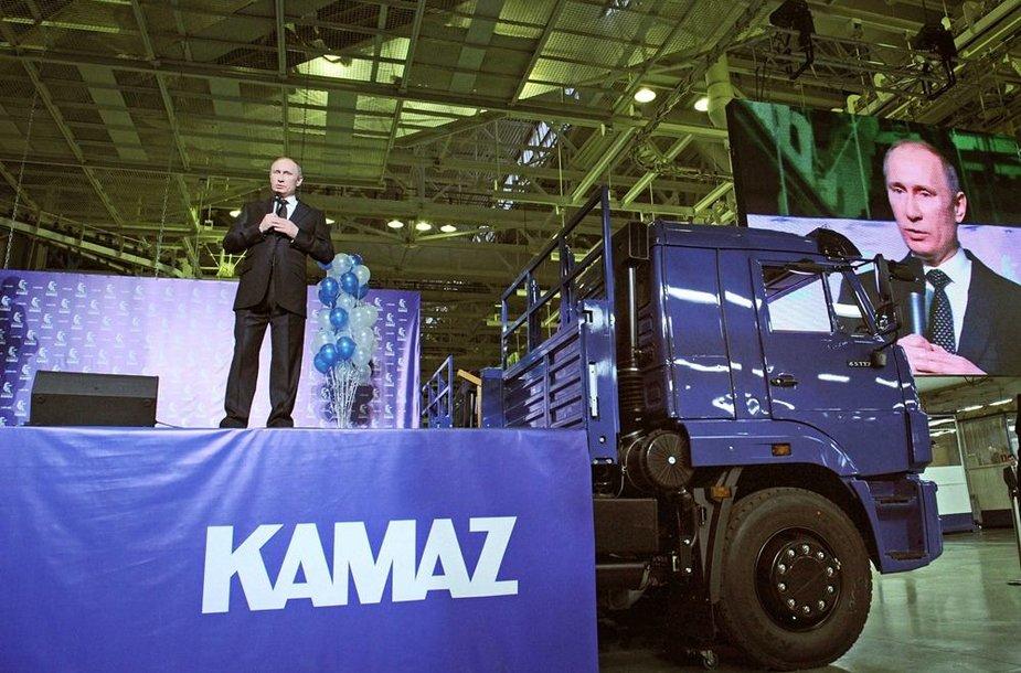 Vladimiras Putinas lankėsi KAMAZ gamykloje.