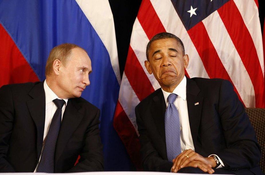 Rusijos prezidentas Vladimiras Putinas ir JAV prezidentas Barackas Obama