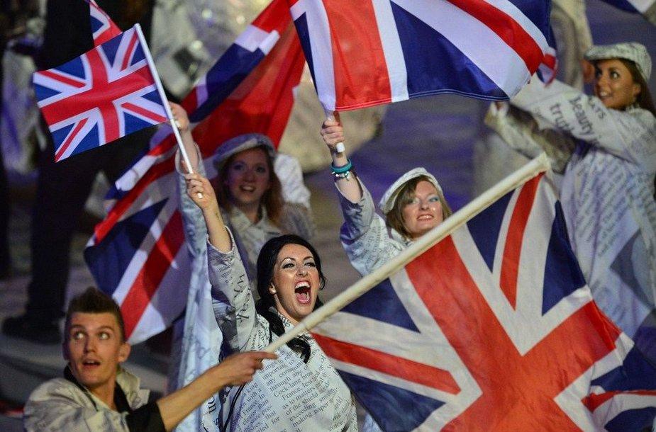 Londono olimpinių žaidynių uždarymo ceremonijos akimirka