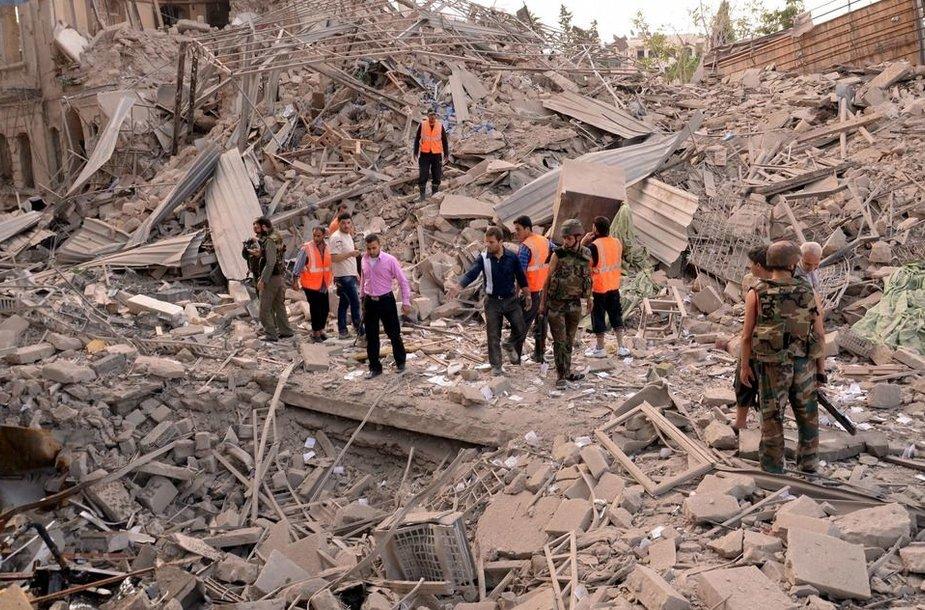 Sprogimo padariniai Alepo mieste