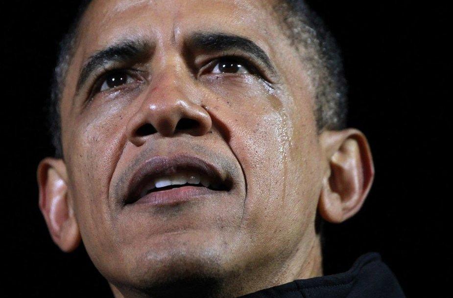 Verkiantis JAV prezidentas Barackas Obama