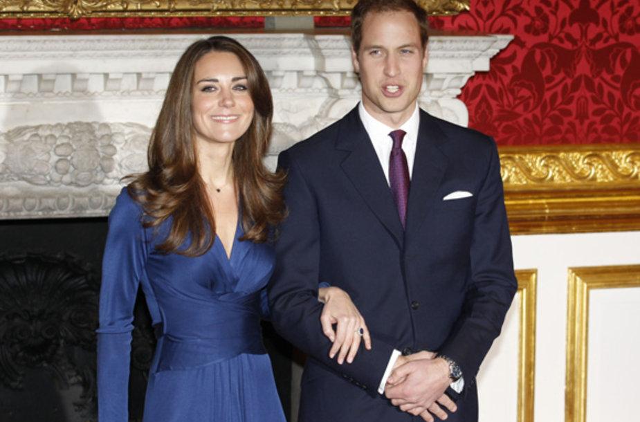 Kate Middleton su sužadėtiniu princu Williamu