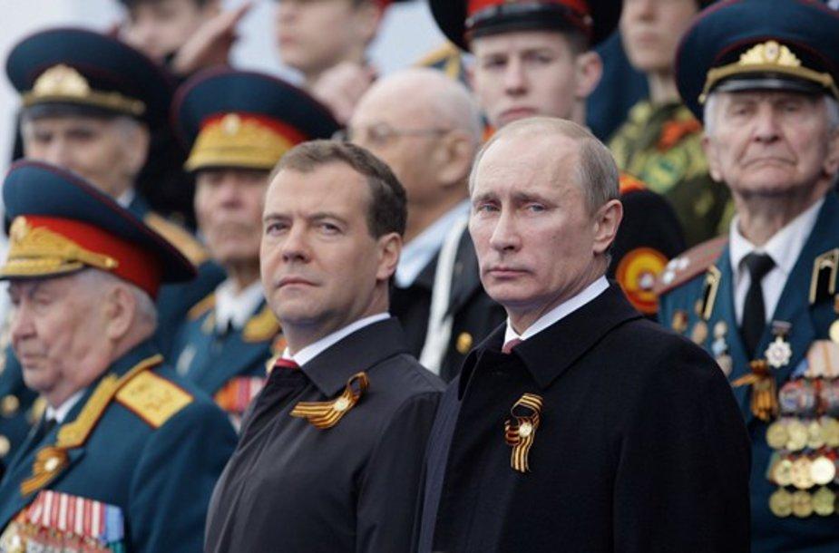 Dimitrijus Medvedevas ir Vladimiras Putinas