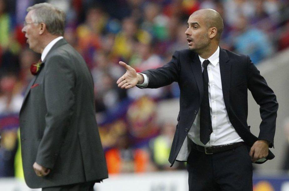 Josepas Guardiola ir Alexas Fergusonas