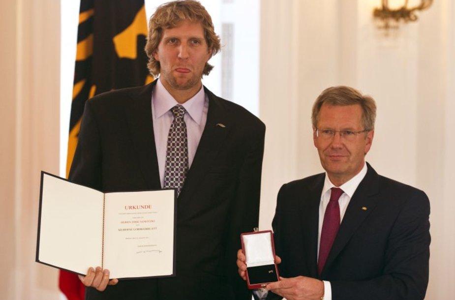 Dirkas Nowitzkis ir Vokietijos prezidentas Christianas Wulffas