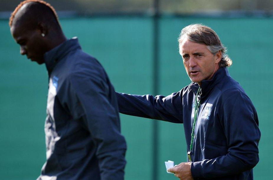 Roberto Mancini ir Mario Balotelli susistumdė per treniruotę