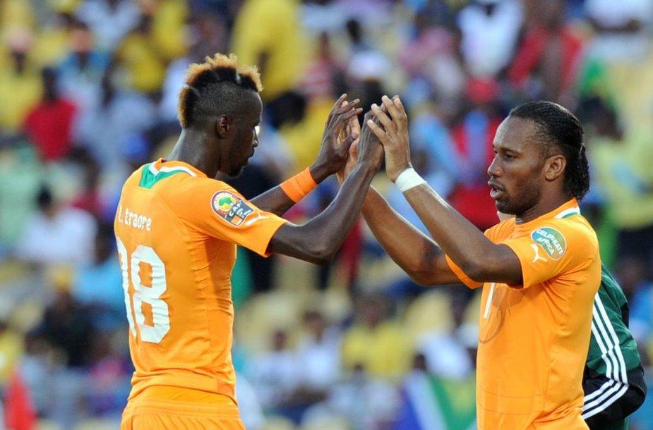 Yaya Toure ir Didier Drigba