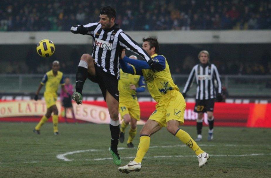 """""""Chievo"""" ir """"Juventus"""" rungtynių akimirka"""