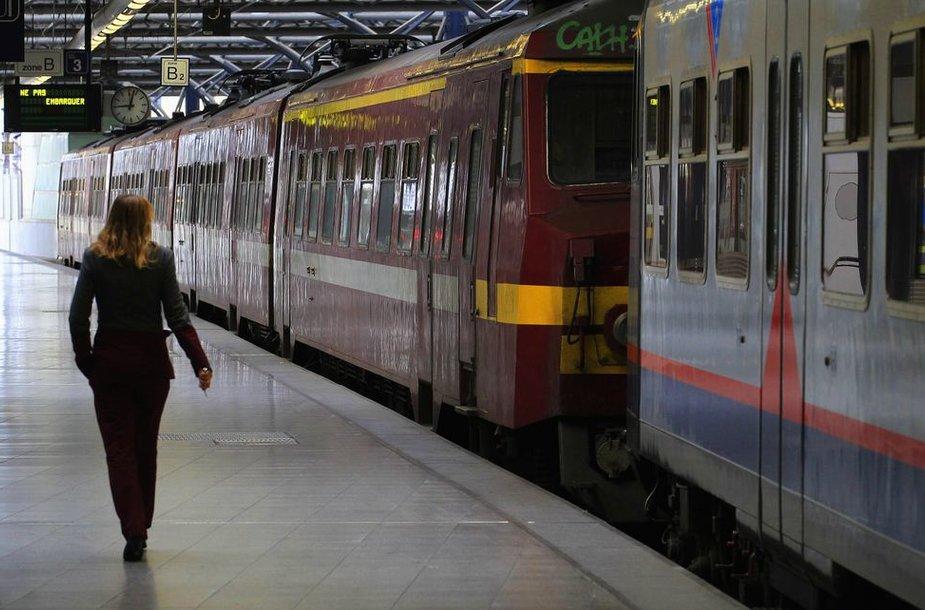 Belgijoje streikavo geležinkelių darbuotojai