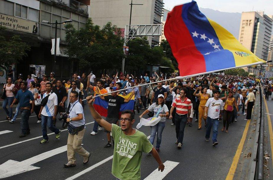 Protestuotojai Venesueloje