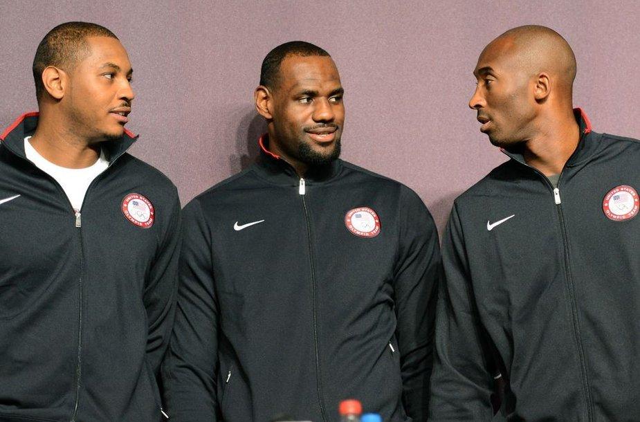 Carmelo Anthony, LeBronas Jamesas ir Kobe Bryantas