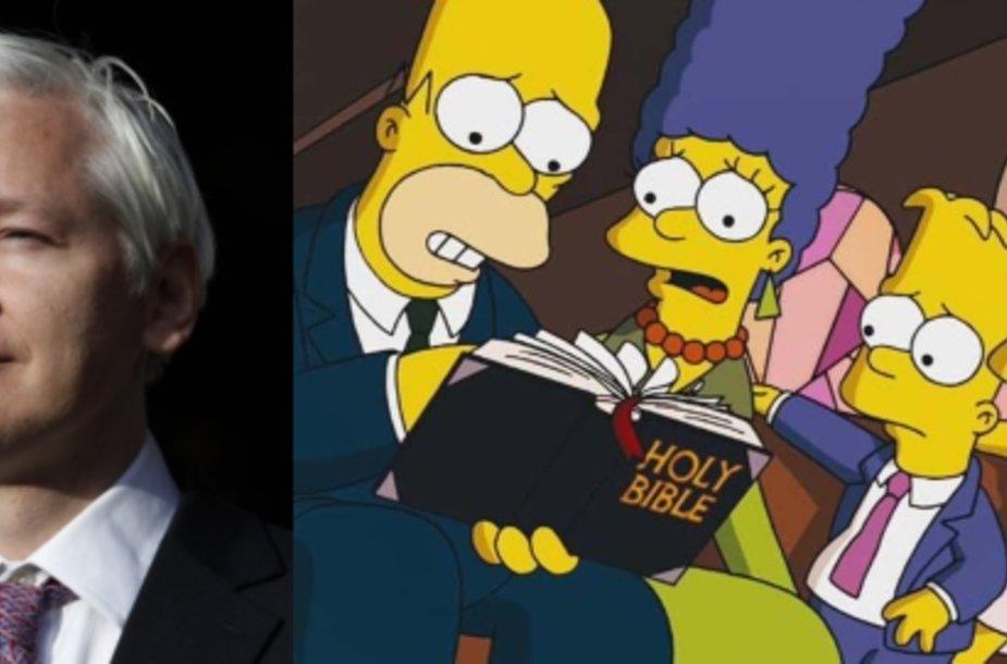 """""""WikiLeaks"""" įkūrėjas Julianas Assange'as pasirodys 500-ojoje """"Simpsonų"""" serijoje"""