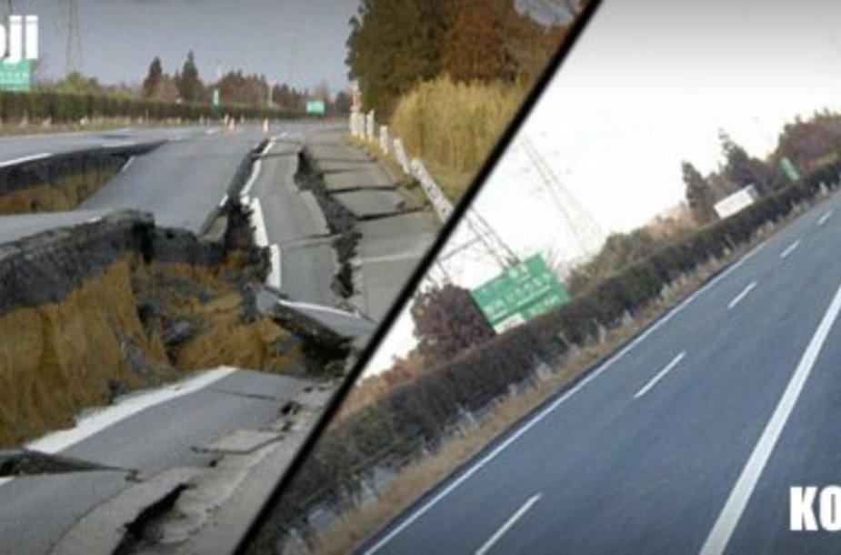 Per 12 dienų visiškai suremontuotas kelias Japonijoje