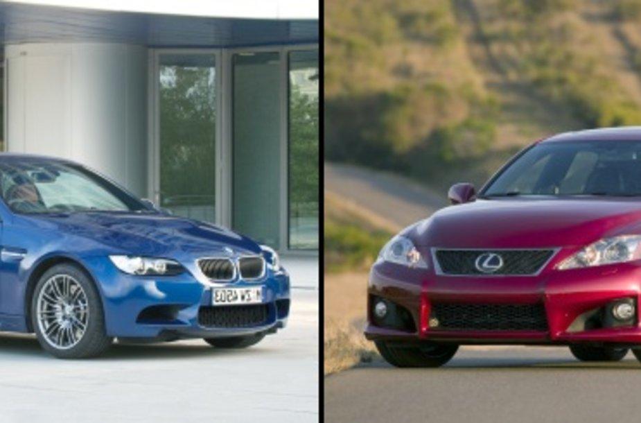 "BMW M3 ir ""Lexus IS-F"""