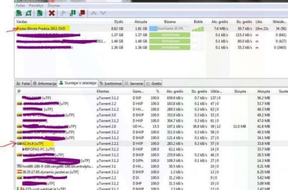 """Skaitytojo atsiųsti """"uTorrent"""" programos parodymai"""