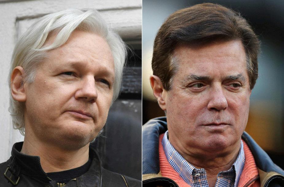 Julianas Assange'as ir Paulas Manafortas