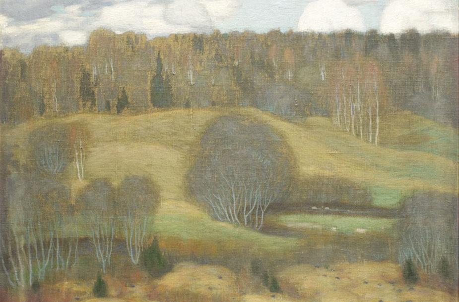 XXVI-ojo Vilniaus aukciono rinkinio ryškiausiu akcentu tapo pirmą kartą viešai pristatytas raritetinis Petro Kalpoko (1880-1945) 1904 metų peizažas.