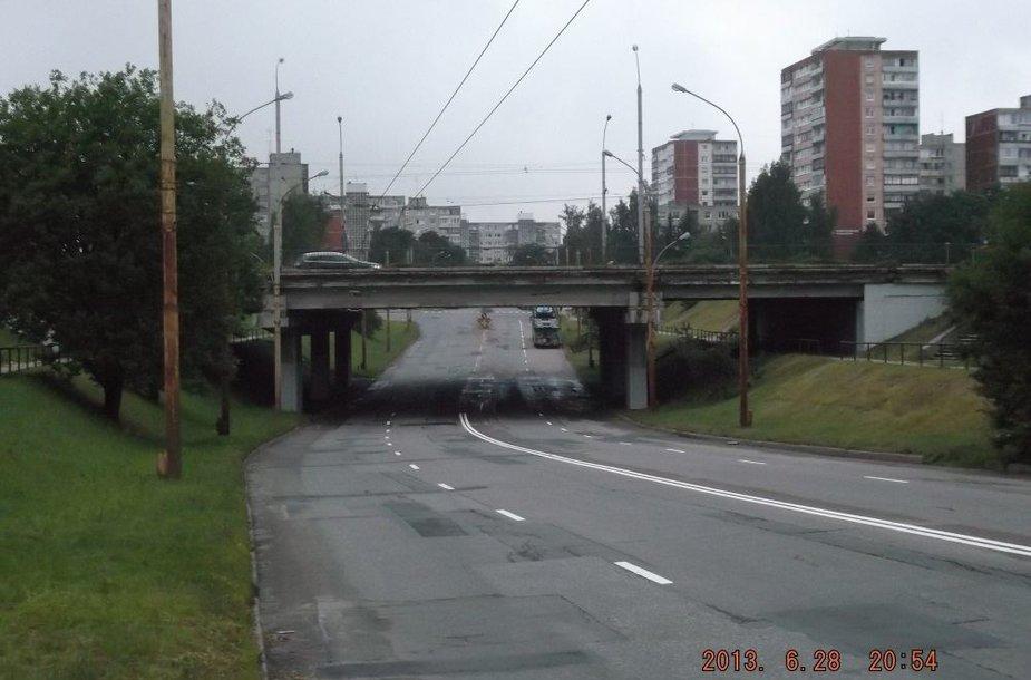 Moksleivės išpaišė viaduko atramas.