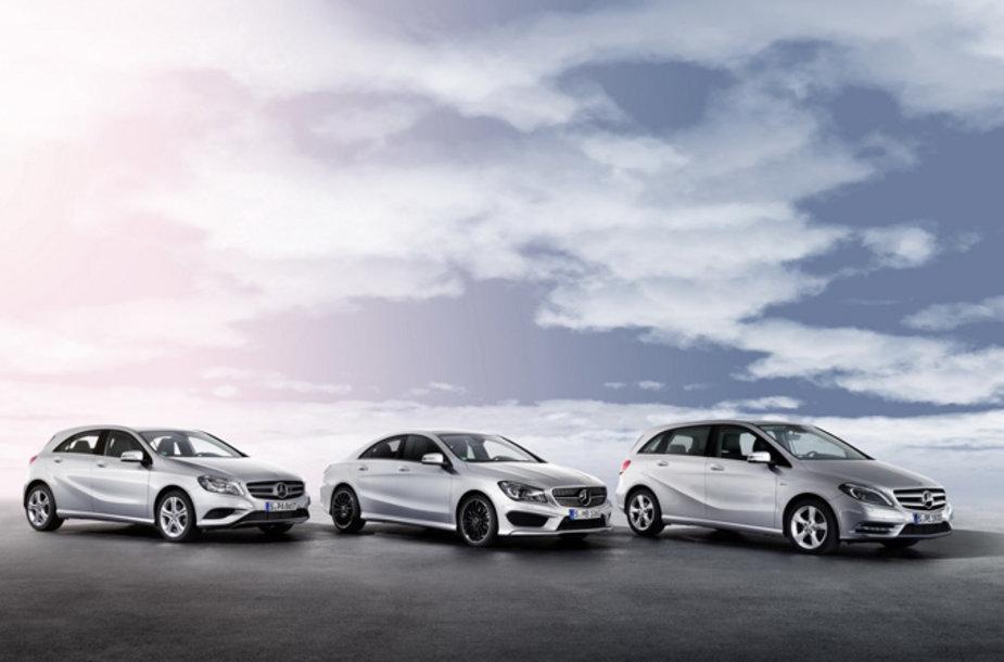 "A klasės, CLA bei B klasės ""Mercedes-Benz"" automobiliai"