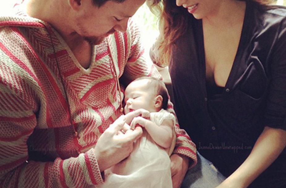 Channingas Tatumas su žmona Jenna Dewan ir dukra Everly