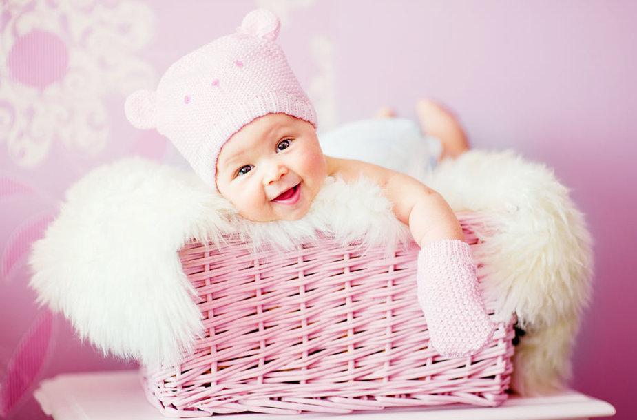 Kūdikėlis pintinėje