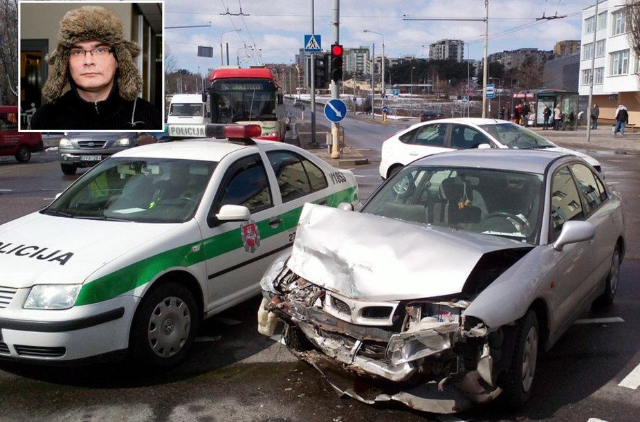 "Avarijoje buvo apgadintas Emilio Vėlyvio automobilis ""Mitsubishi Carisma""."