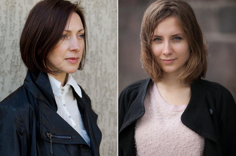 Aktorė Neringa Varnelytė (kairėje) ir jos antrininkė Deimena Drąsutytė