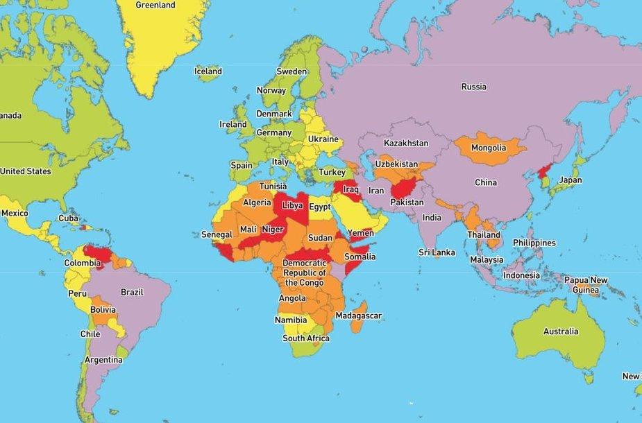 Pasaulio šalys žemėlapyje įvertintos pagal medicininį saugumą jose