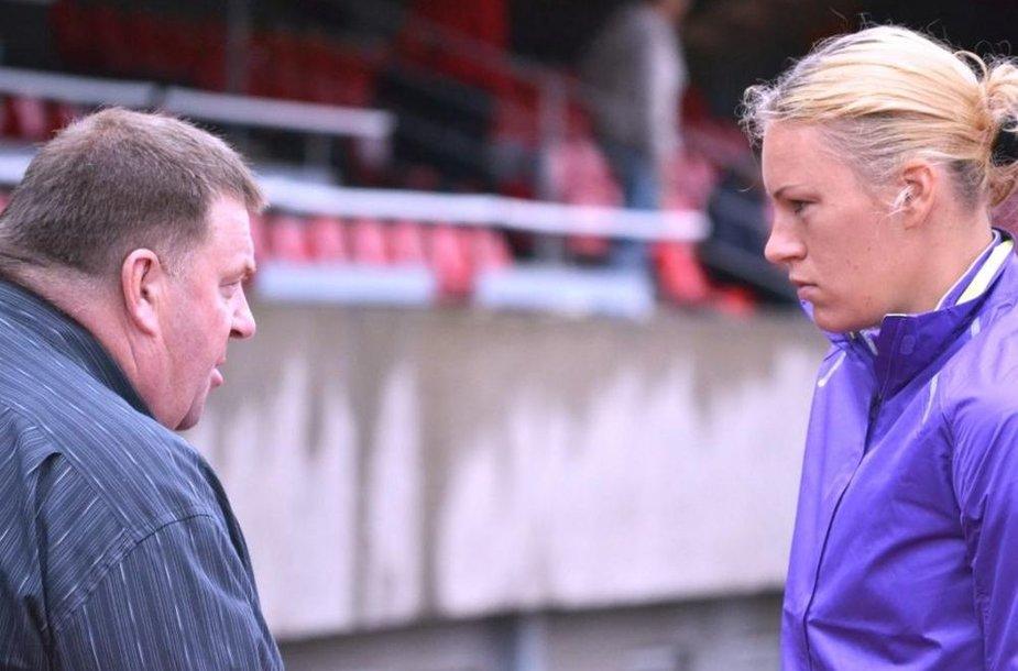 Austra Skujytė ir treneris Aleksas Stanislovaitis.