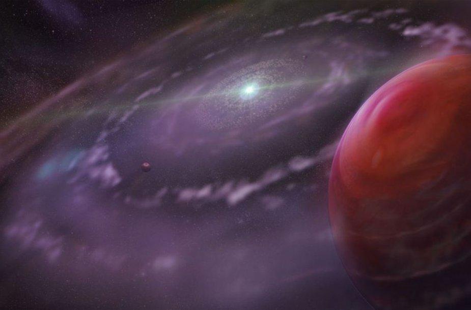 """Milžiniška planeta """"HR 8799c"""", tankus dujų ir dulkių debesis bei aplink esančios planetos. Iliustruojama, kaip planetinė sistema galėjo atrodyti ankstyvuoju formavimosi laikotarpiu."""