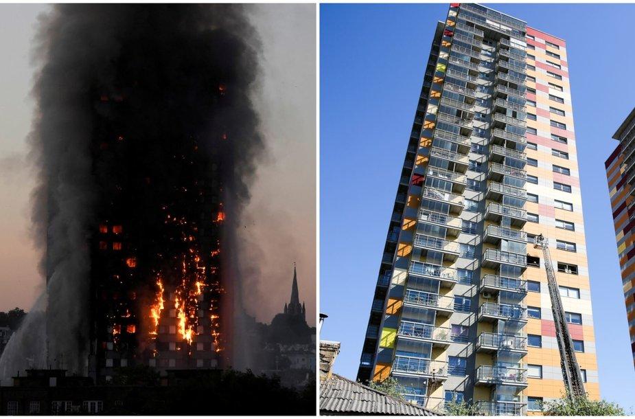 """Degantis """"Grenfell Tower"""" Londone ir gaisras Vilniaus daugiabutyje Viršilų gatvėje"""