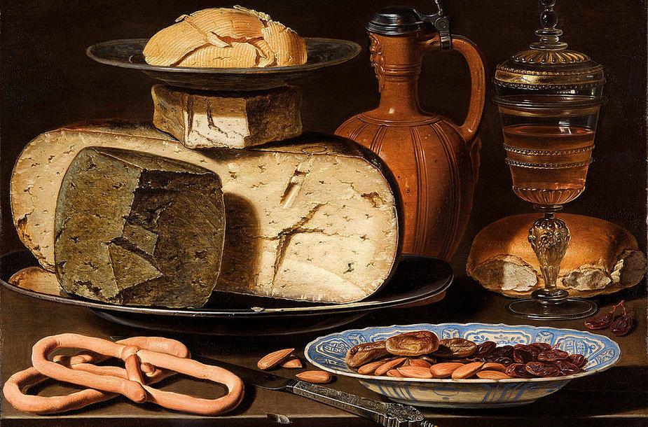 """Claros Peeters paveikslas  """"Natiurmortas su sūriu, migdolais ir riestainiais"""""""