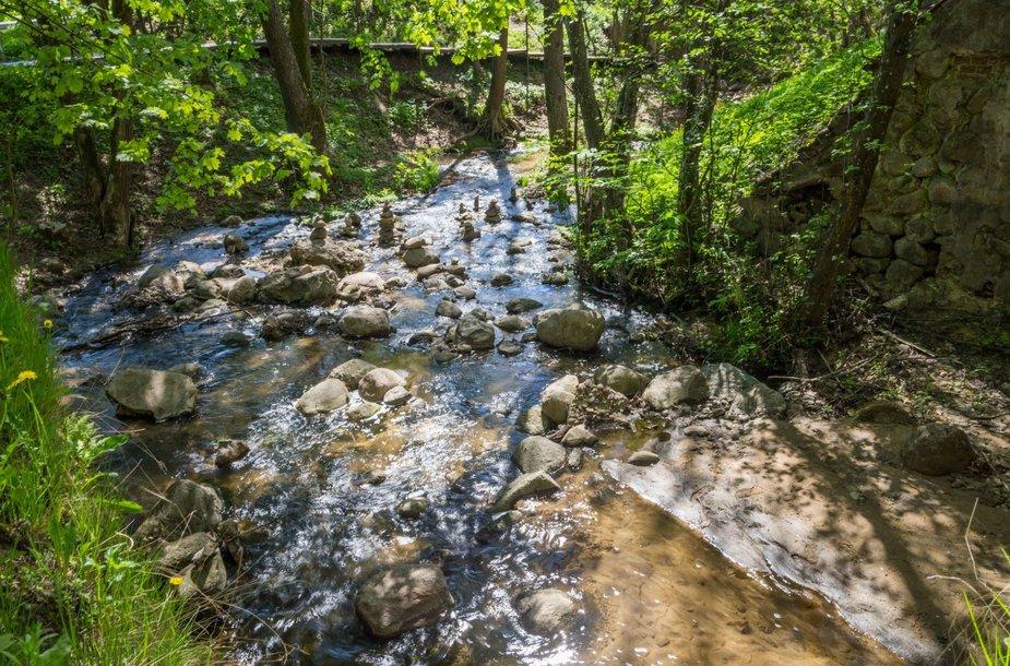 Ramiai čiurlenantis Verkių parko krioklys