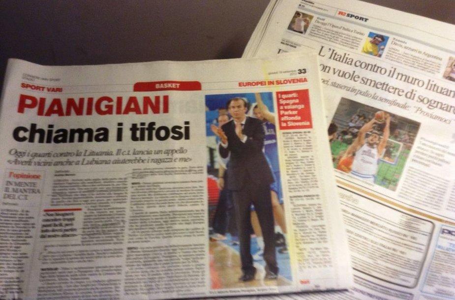 Italijos dienraščių antraštės - apie dvikovą su Lietuva