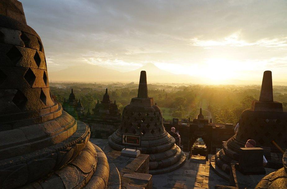 Borobuduro šventykloje saulės pasitikimas