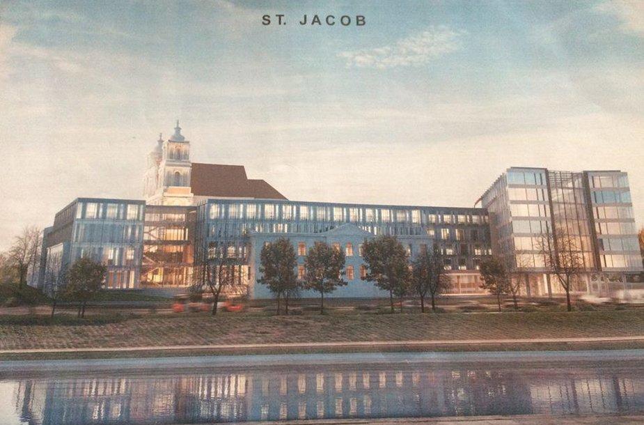 Greta Šv.Jokūbo bažnyčios planuojamas viešbutis ir biurų pastatas