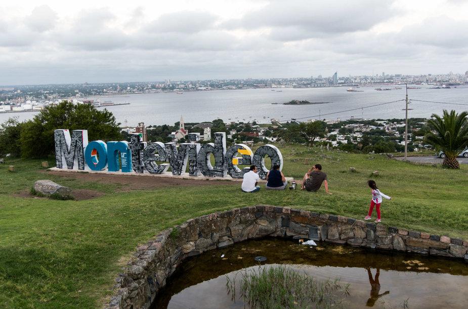Montevideo miesto panorama nuo Cerro kalno